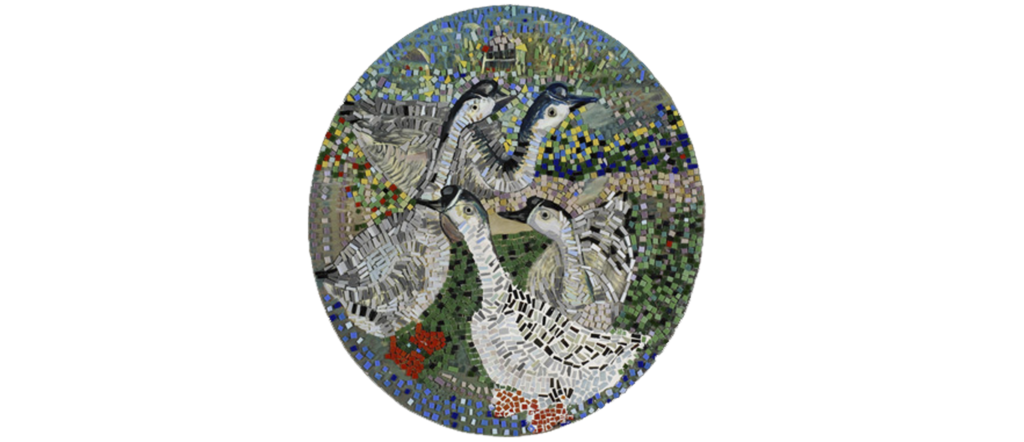 <h6>Four Geese -Glass Mosaic