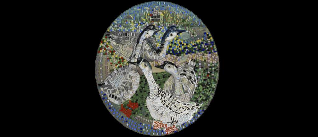 <h6>Four Geese -Glass Mosaic