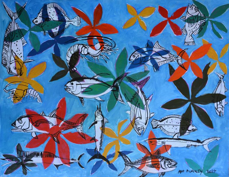 <h6>Fish and Flowers </h6>&nbsp;&nbsp;&nbsp;&nbsp;&nbsp;&nbsp; &nbsp;&nbsp;&nbsp;&nbsp;&nbsp;&nbsp; <span>  19.75  x  25.5</span>