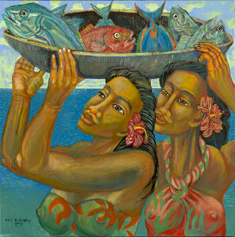 <h6>Hiiaka and Pele <br>    <br>            <br>     Size: 34 x 34  </h6> <br>    <br>            <br>    $ 1,500.00