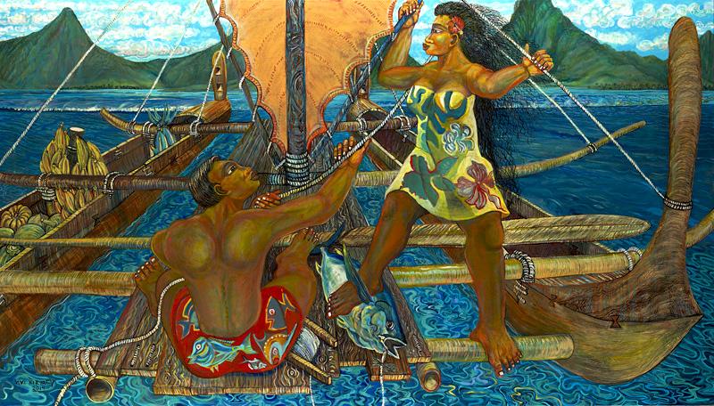 <h6>Polynesian Voyage <br>&nbsp;&nbsp;  <br>&nbsp;&nbsp;          <br>&nbsp;&nbsp;   Size: 38 x 66  </h6> <br>&nbsp;&nbsp;  <br>&nbsp;&nbsp;          <br>&nbsp;&nbsp;  $ 3,000.00