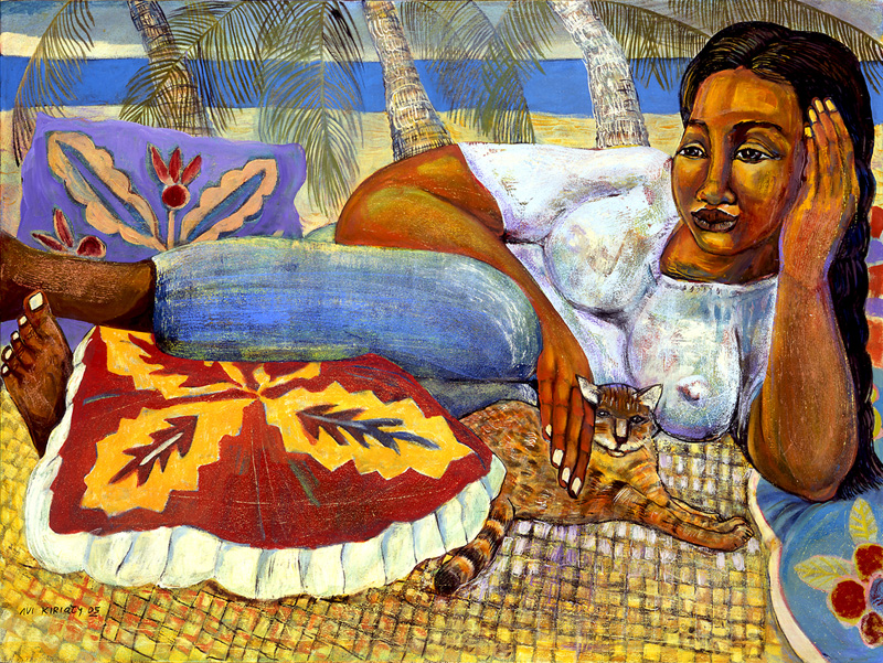 <h6>Resting Wahine and Cat <br>  <br>          <br>   Size: 30 x 40  </h6>