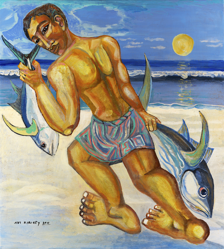 <h6>Tuna Fisherman <br>    <br>            <br>     Size: 40 x 36  </h6>